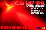 高輝度 3mm LED 赤色 MAX6000mcd