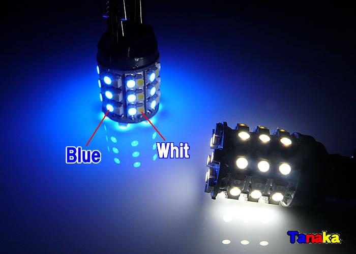 画像1: 青色 白色ダブル球 切換SMD60連T20