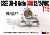 CREE XB-D 【T15】6chip30W DC12/24V白色 バックライト!ポジション球
