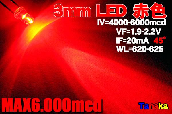 画像1: 高輝度 3mm LED 赤色 MAX6000mcd