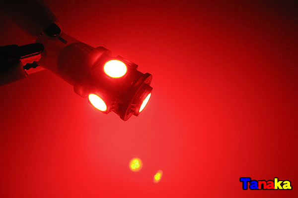 画像1: T10 ウエッジ球 SMD 3チップ×5連LED 赤色